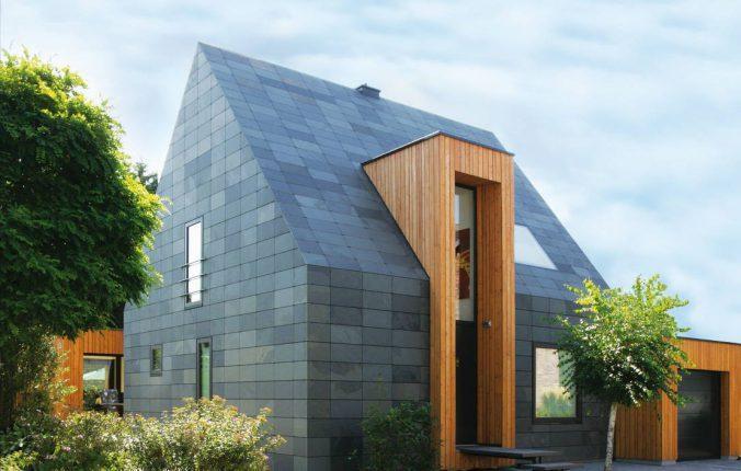 Использование плитки и дерева для фасадов