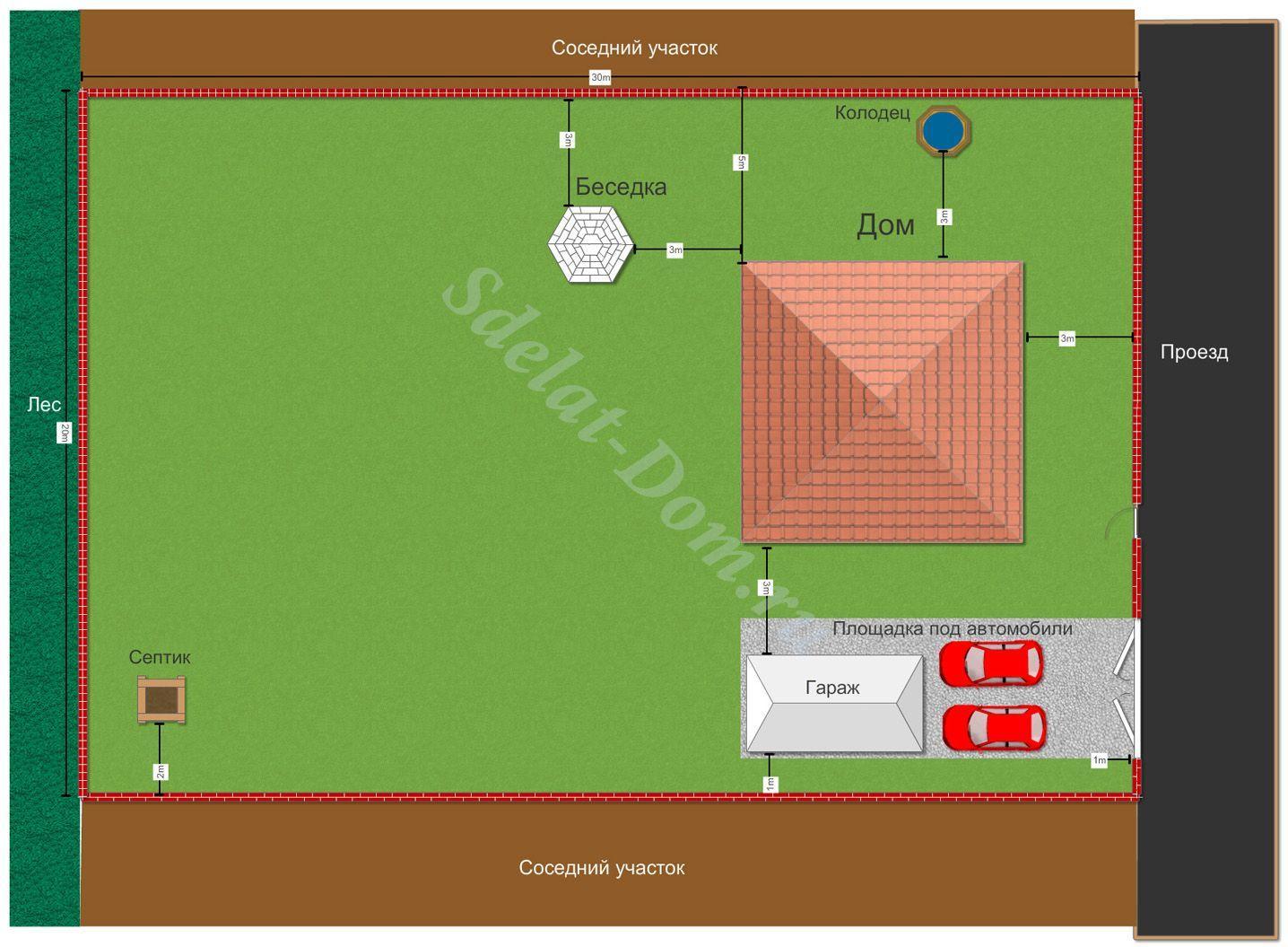 Схема размещения дома на участке 12 соток