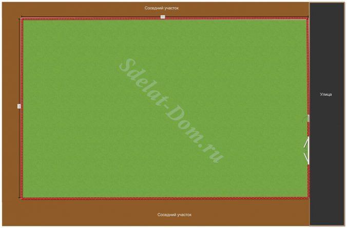 Рисуем участок нужной формы по нашим размерам 25х40