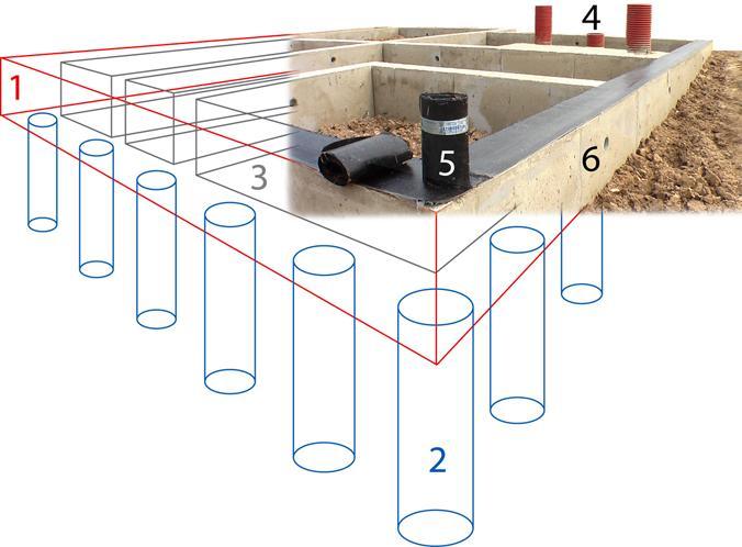 Схема ленточно-свайного фундамента