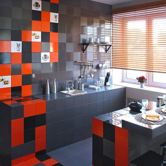 оранжевая плитка на кухне