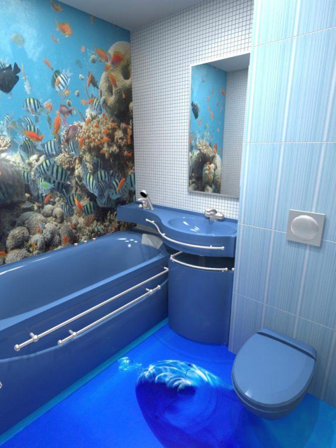 синяя сантехника в ванной