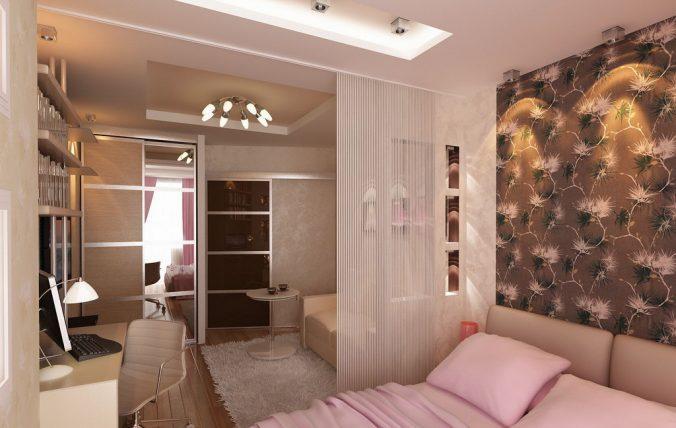 спальня-гостиная в розовых тонах